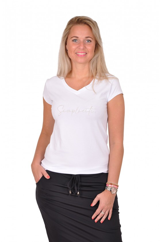 T-shirt simplicite wit-goud savinni Savinni