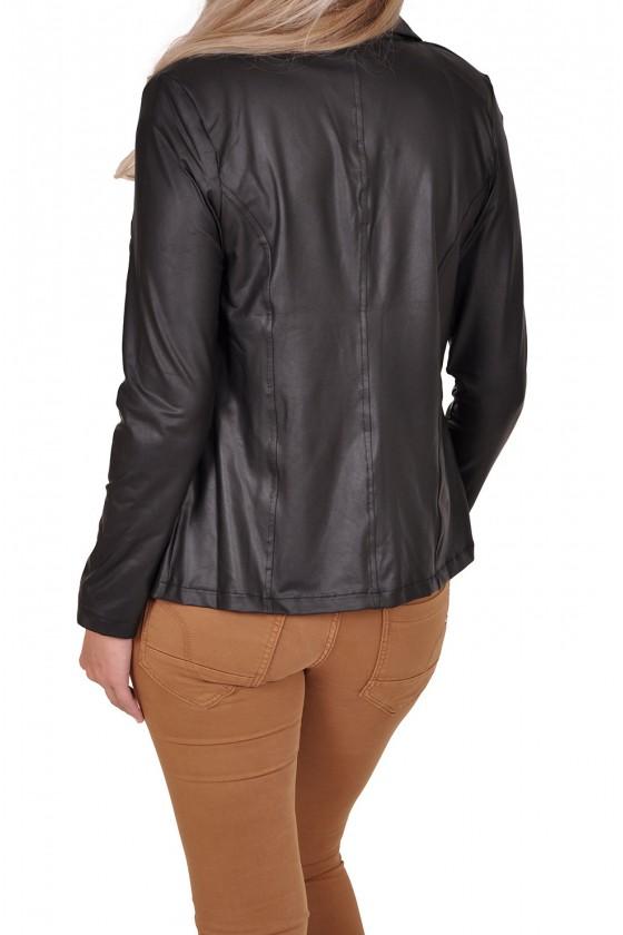 Travelstof leatherlook blazer van Triple Nine