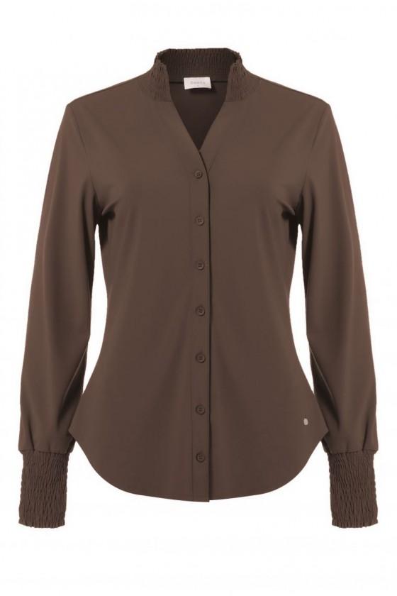 Travelstof smock blouse Bibi van Daelin bruin Daelin