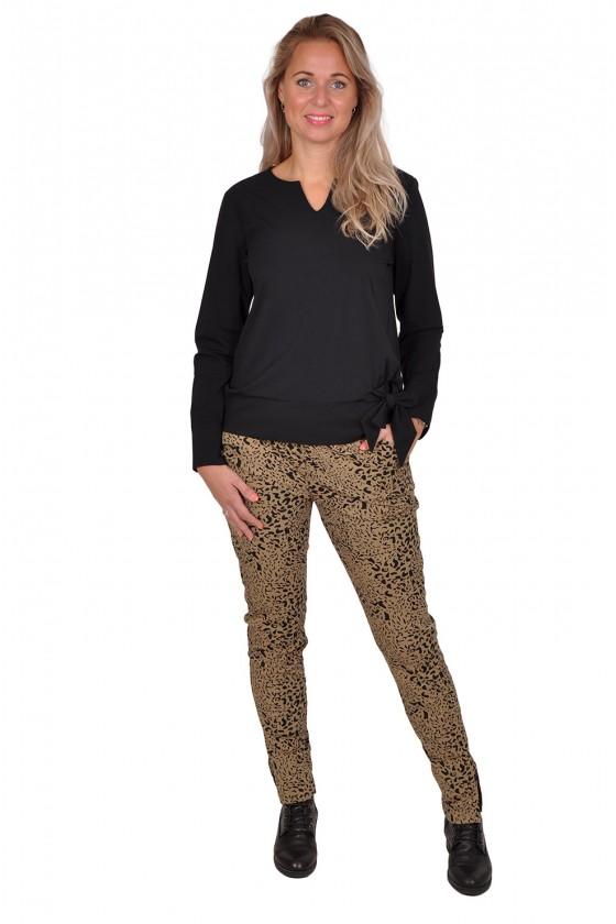 Travelstof broek taupe leopard Daelin Daelin