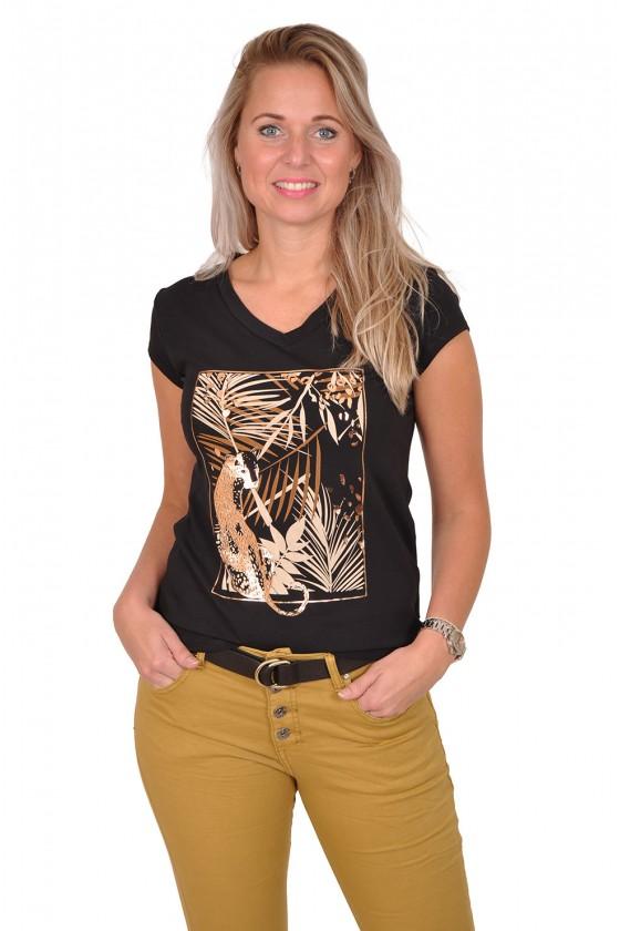 Savinni T-shirt Cheetah zwart-camel Savinni