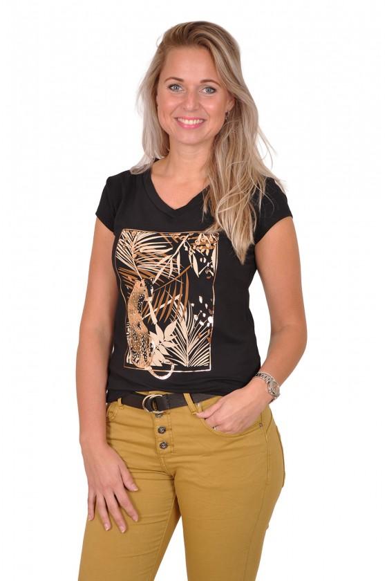 Savinni T-shirt Cheetah zwart-camel