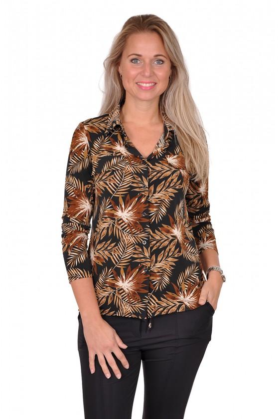 Vera Jo stretch blouse bladprint zwart-camel Vera Jo