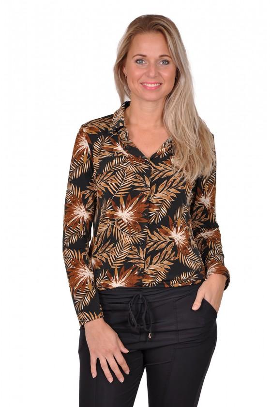 Vera Jo stretch blouse bladprint zwart-camel