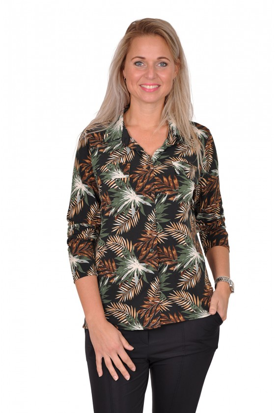 Vera Jo stretch blouse bladprint zwart-army Vera Jo