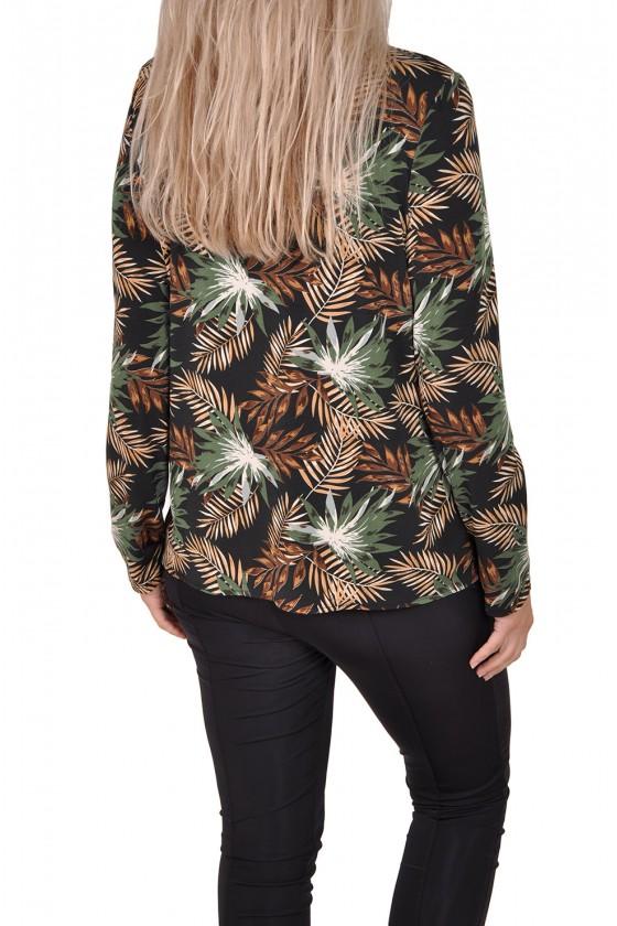Vera Jo stretch blouse bladprint zwart-army