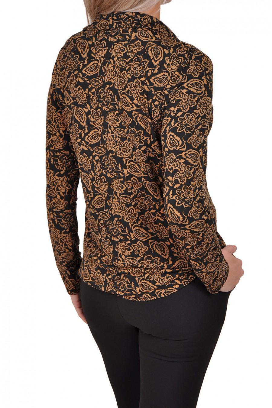 Vera Jo stretch blouse Suze zwart-camel Vera Jo
