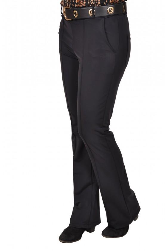 Vera Jo travelstof broek met licht uitlopende flared pijpen