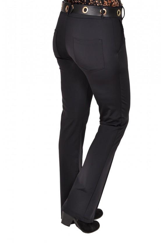 Vera Jo travelstof broek met licht uitlopende flared pijpen zwart