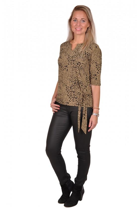 Travelstof strik leopard blouse/top Anastacia van Daelin taupe