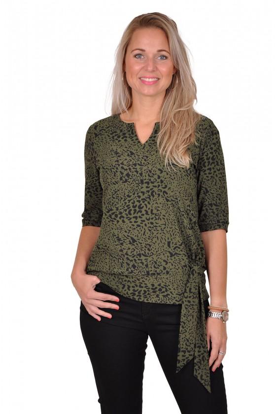 Travelstof strik Leopard blouse/top Anastacia van Daelin army