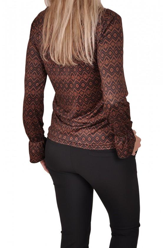 Gemma Ricceri stretch top met V-hals Aztec bruin