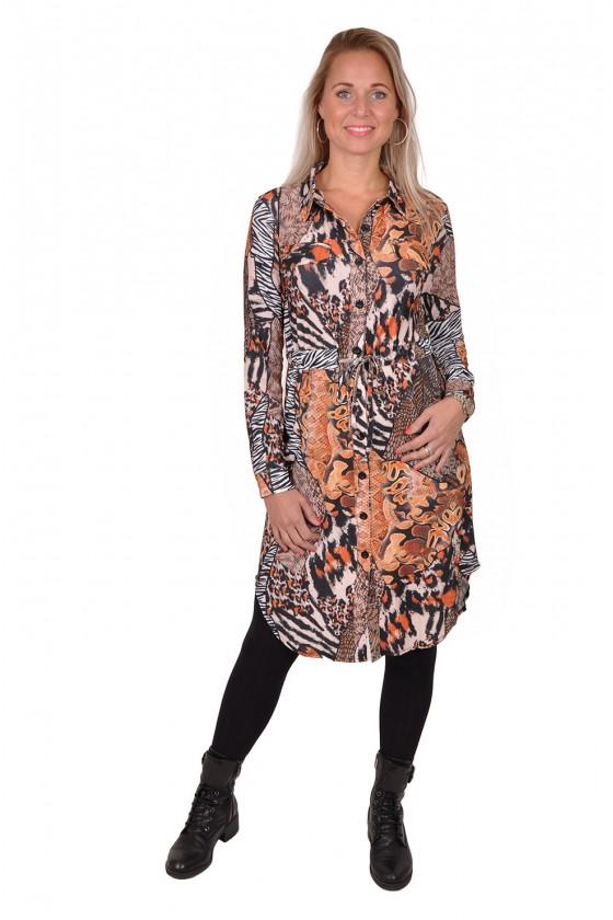 Travelstof jurk met taillekoord Snake Triple Nine Triple Nine