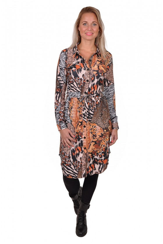 Travelstof jurk met taillekoord Snake Triple Nine