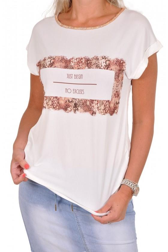 T-shirt met just begin print