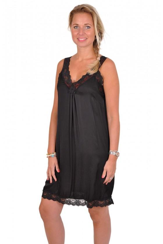 Satijnen jurkje met kanten bandjes zwart