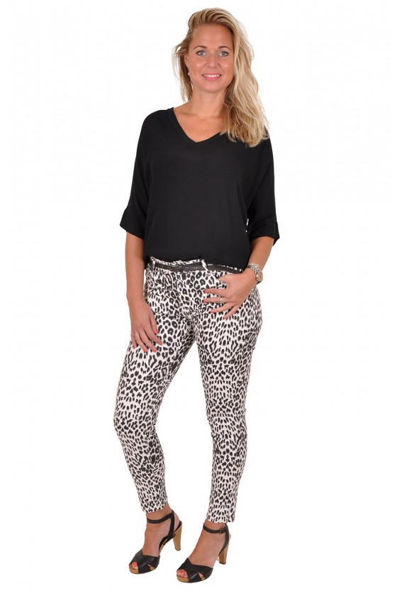 Leopard push up zwart-wit stretch jeans